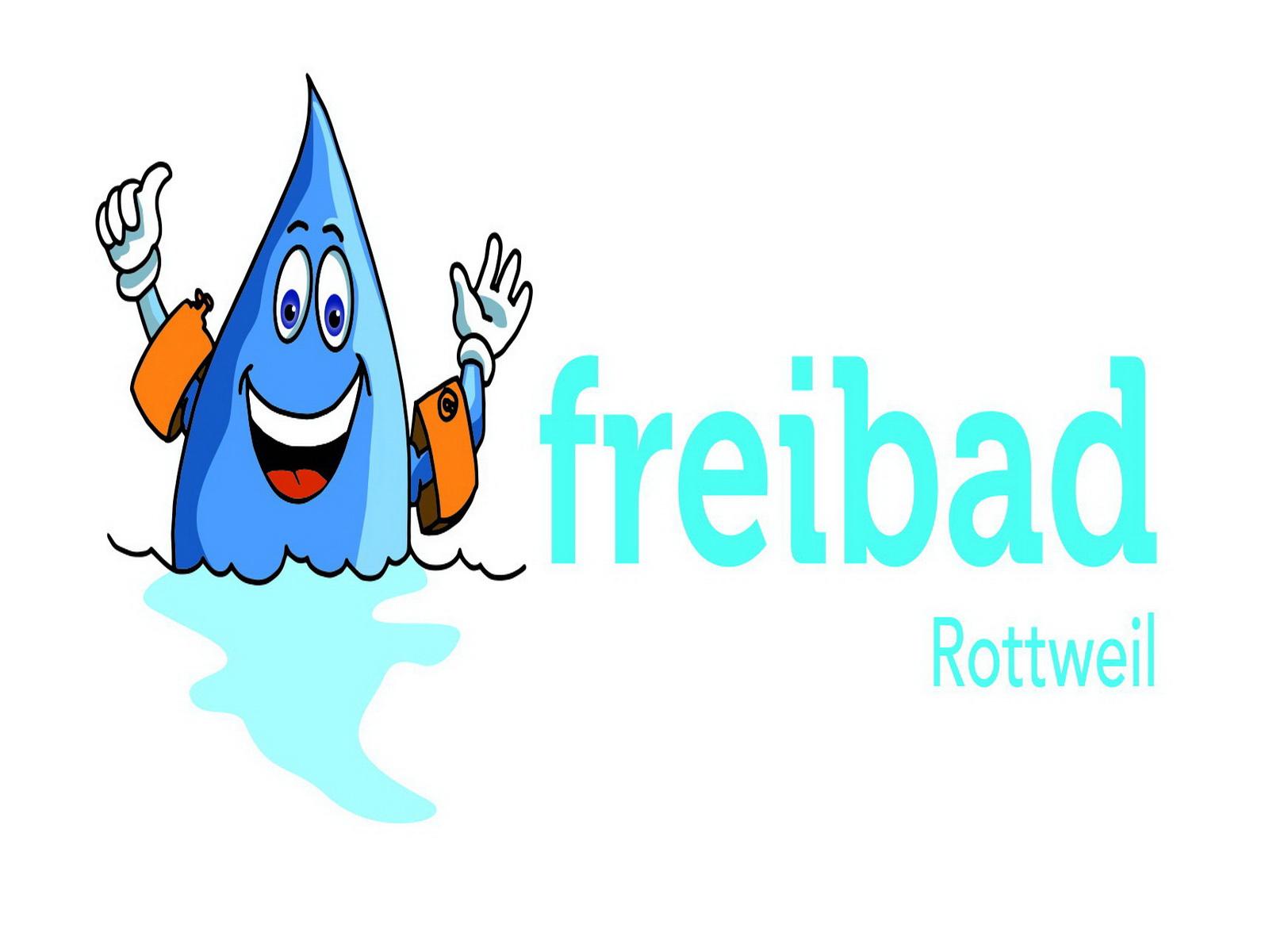 Das Logo des Rottweiler Freibads mit ENRW-Maskottchen Blubbi