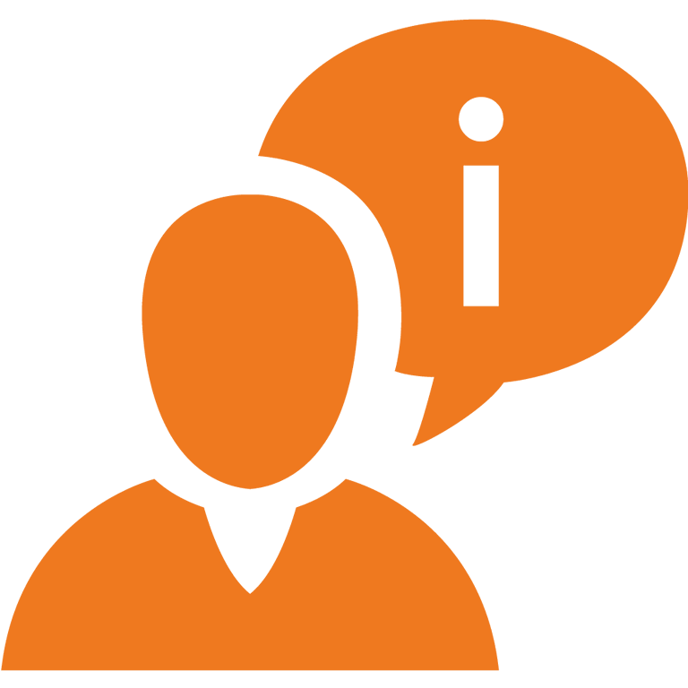 Service: Icon von Person mit Sprechblase
