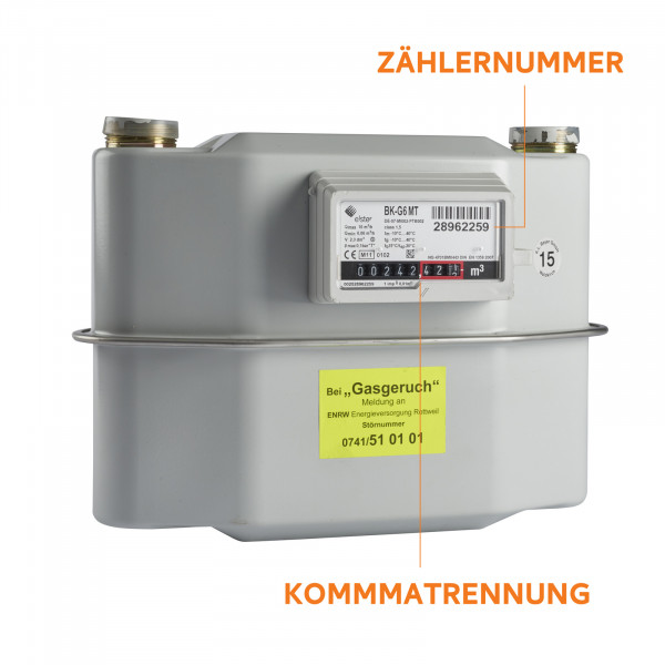 ENRW Erdgas Zähler