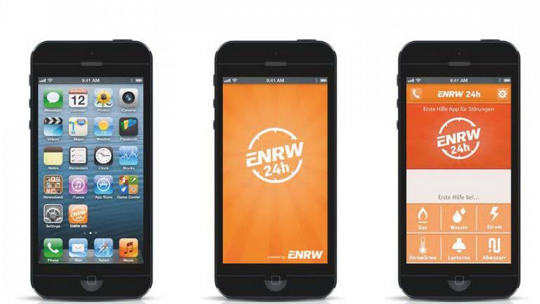 ENRW Service-App für Störungen auf dem Mobiltelefon